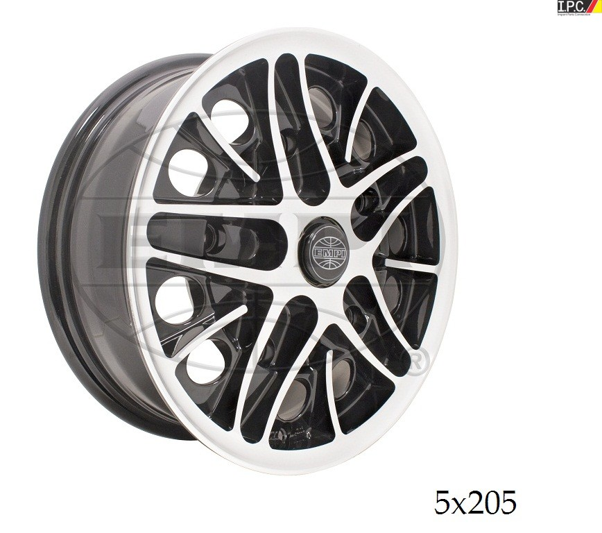 empi gloss black wpolished lip face cosmo wheel    bolt pattern vw rims vw