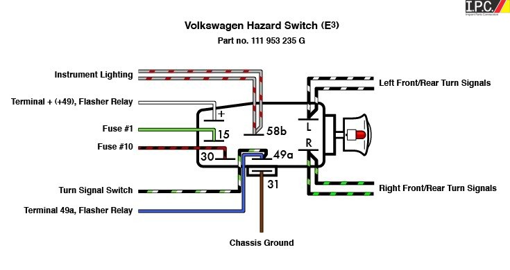 emergency flasher switch vw i p c vw parts vw bug parts and vw bus parts volkswagen interior. Black Bedroom Furniture Sets. Home Design Ideas