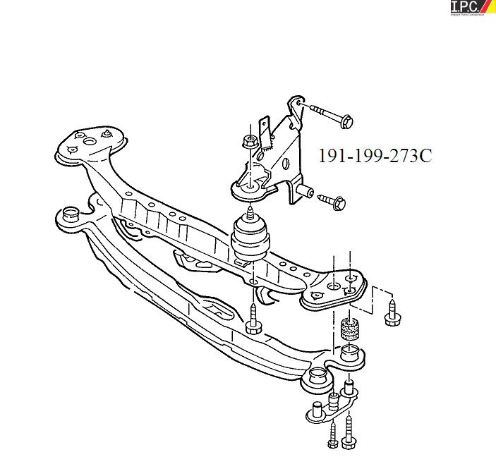 Vw Golf Jetta Front Motor Mount Bracket I P C Vw Parts Vw Bug