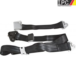 Non-Retractable 3 Point Belt With Classic Chrome Aviation-Style Lift Buckle
