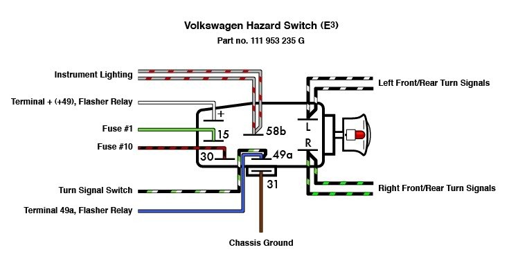 1973 volkswagen beetle chassis wiring diagram emergency flasher switch vw i p c vw parts  bug  bus  type 3  emergency flasher switch vw i p c vw